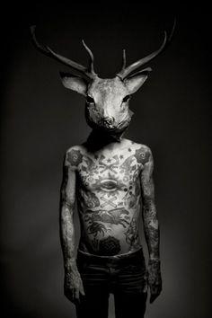 love photography pretty Black and White Cool beautiful hipster indie Grunge animal tattoos boy man Alternative mask deer arrow arrowfall Deer Tattoo, Tatoo Art, Tattoo Ink, Raven Tattoo, Chest Tattoo, Arm Tattoo, Animal Masks, Animal Heads, Boy Tattoos