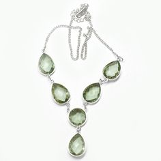 Classic Design Necklace of Green Amethyst In by DevmuktiJewels, $153.00