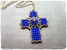 75marghe75 Bead By Bead: Come fare una croce con perline superduo - beads cross tutorial -