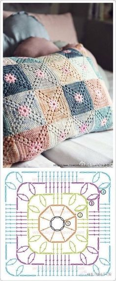 Very pretty Crochet Pillow. This is not in English, but the crochet diagram should be sufficient. Discover thousands of images about Crochet granny square baby blanket pillow cushion afghan throw blanket Crochet fabric is a very popular option for li Crochet Motifs, Granny Square Crochet Pattern, Crochet Blocks, Crochet Diagram, Crochet Chart, Crochet Squares, Free Crochet, Afghan Patterns, Crochet Motif