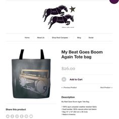 Repost @rootcompass New in the #rootcompass shop My Beat Goes Boom Again #totebag #3pieceurbanartisan