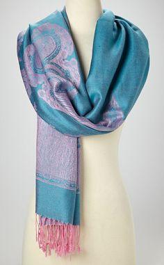 Aqua & Pink Paris Cashmere-Silk Blend Scarf ~ Tossed Over The Shoulder