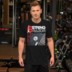 6 string razor 6 Short-Sleeve Unisex T-Shirt Cabo, Vegan Clothing, Valentines Day Shirts, Flag Shirt, Fabric Weights, Funny Tshirts, Tee Shirts, Short Sleeves, Unisex