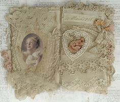 Mixed Media Fabric Collage Book of Angels and Old Lace   eBay