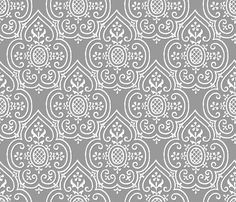 Lace Medallion ~ White on Pewter ~ by PeacoquetteDesigns on Spoonflower ~ bespoke fabric, wallpaper, wall decals & gift wrap ~ Join PD  ~ https://www.Peacoquette.com  #Spoonflower #Peacoquette