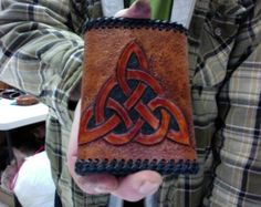 Wallet / Men / Tri Fold / Celtic / Norse / Hand Carved and Tooled / Leather / Custom / Hand Made  / Man, Tri - Fold / Wallet / Nordic / Knot