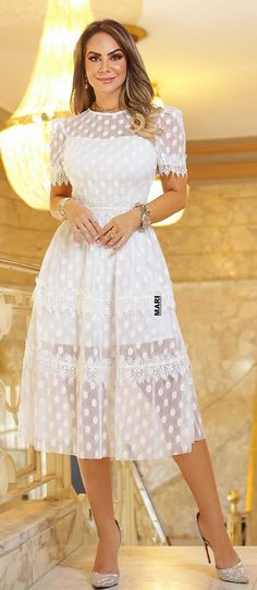 White Outfits, Classy Outfits, Pretty Outfits, Dress Skirt, Lace Dress, White Dress, Casual Dresses, Fashion Dresses, Formal Dresses