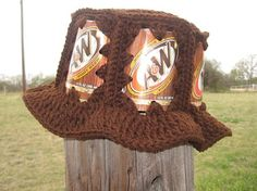 A & W Root Beer Can Hat With Brown Crochet by GrannyHugs on Etsy, $22.00