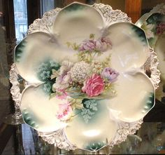 RS Prussia Cake Plate...BEAUTIFUL Floral design