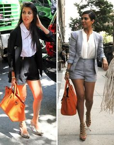 Short suit a la Kourtney Kardashian.  I'm loving this style right now- adds a bit of youth and edge to the classic and sophisticated look.