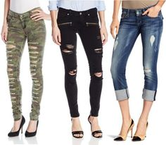 Here are some style ideas from the street on how to keep your style while rocking the of-the-moment, raw + distressed jeans. Tattered Jeans, Denim Trends, Distressed Denim, Your Style, Capri Pants, Black Jeans, How To Wear, Fashion, Moda