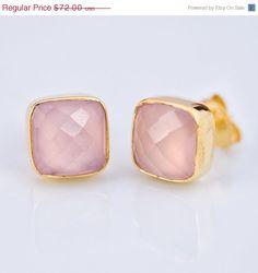October Birthstone Jewelry- Stud Earrings - Cushion Cut Pink Chalcedony Stud Post Earrings - Gold Stud Gemstone Earrings