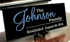 Personalized Family Name Sign Last Name Sign Family Established Sign: Engraved and Painted 8 x 18