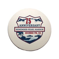 This good looking 75th Anniversary Pearl Harbor Sandstone Coaster is strong, durable, absorbent & comes with a cork bottom to prevent table scratching. All of the designs for VetFriends.com Coasters are custom baked into the stone for long lasting color and are made in the United States. Part of the VetFriends Exclusive 75th Anniversary Pearl Harbor Collection.