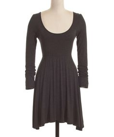 Loving this Coveted Clothing Charcoal Scoop Neck Sidetail Dress on #zulily! #zulilyfinds