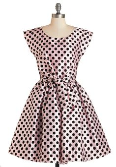 The Nicolette Dress. Every morning fills you with excitement - take on your day in this pink polka-dotted frock, echoing the enthusiasm of this fit-and-flare's namesake, Nicolette Mason! #pink #prom #modcloth