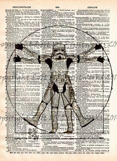 Storm trooper, Star Wars, Da Vinci vitruvian man art print, dictionary page print