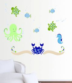 Sale Ocean wall decal set SMALL by XpressionsThatStick on Etsy,