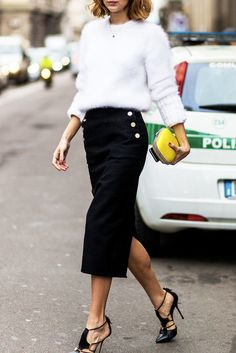 just say yes to a midi skirt. found on instyle.com
