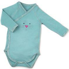 Le body Les pachats bleu vert de la marque Moulin Roty gardera bébé bien au chaud sous ses vêtements.