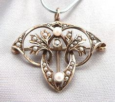 Vintage ART NOUVEAU 10K GOLD DIAMOND Seed PEARL Pendant Brooch Pin Arts & Crafts