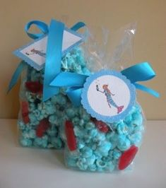 Blue popcorn and red swedish fish for Dr. Seuss