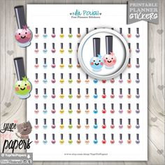 Nail Polish Stickers, Printable Planner Stickers, Planner Stickers, Kawaii Stickers, Cute Stickers, Instant Download, Planner Accessories