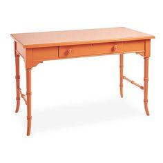 Stanley Furniture Coastal Retreat Table Desk Orange Standard Desks ($899) ❤ liked on Polyvore featuring home, furniture, desks, orange, cord management desk, cable management desk, stanley furniture, coastal style furniture and orange furniture
