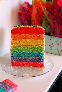 Rainbow Cake  this is absolutely yummy i've tried it twice and its amazing
