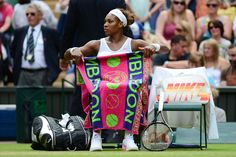 LONDON - The Championships Wimbledon ... Reigning Queen of Grass, World #1 Serena Williams rests during a change of ends - Wimbledon Tennis Championships: Day 7
