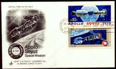#1569-1570 Apollo Soyuz Space Mission First Day Cover, July 15, 1975: Kennedy Space Center, FL. Scott #1569-1570, Artcraft, Apollo-Soyuz Space Mission, Pair of two 10¢ Apollo-Soyuz stamps. Also included is an uncacheted TUPEX (Tucson Bicentennial) Special Cancellation cover dated August 20, 1975 with this same two stamps. Stamp artwork by Robert McCall. Both for $7.50