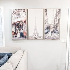 This customer image is one of our faves of the season. Once in a lifetime memories are always wall-worthy! 😍 Plus... Paris. These three photo signs are framed in our weathered gray and are STUNNING. Thank you to our sweet customer, Mai, for sending the image our way! | living room home decor inspiration | custom photo wall decor ideas | decorating a modern farmhouse Photo Wall Decor, Wall Decor Design, Cozy Living Rooms, Living Room Decor, Bedroom Decor, Farmhouse Style Decorating, Farmhouse Decor, Modern Farmhouse, Farmhouse Design