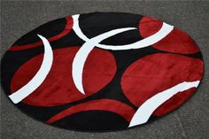 1062 Red Black Foot Round Area Rugs Carpet Modern Abstract New