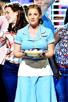"""Actress Jessie Mueller of """"Waitress"""" performs onstage during the 70th Annual Tony Awards at The Beacon Theatre"""