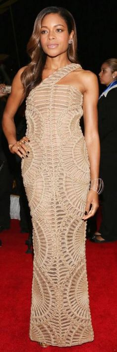 Who made Naomi Harris' one shoulder tan gown, jewelry, shoes, and clutch handbag?