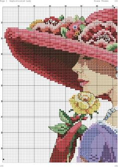 0 point de croix femme au chapeau rouge et chale violet - cross stitch lady with red hat and purple shawl part 3 Funny Cross Stitch Patterns, Cross Stitch Charts, Cross Stitch Designs, Cross Stitch Angels, Cross Stitch Flowers, Cross Stitching, Cross Stitch Embroidery, Hobbies And Crafts, Diy And Crafts