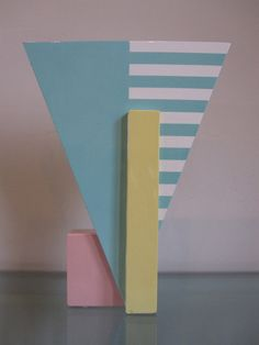 Michael Duvall Large Post Modern Triangle Vase 1983