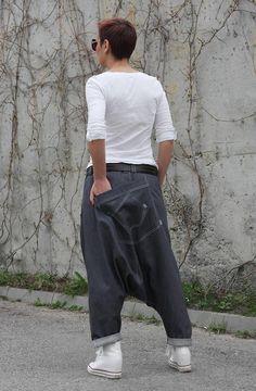 Harem Pants Women Men Unisex Drop Crotch Pants Denim Pants | Etsy