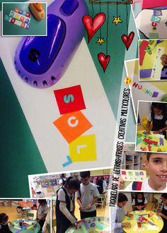 Troquelado de letras, cartulinas de colores... Frases creativas