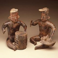 Musicians with drum and conch trumpet  Colima culture 200 B.C. - A.D.