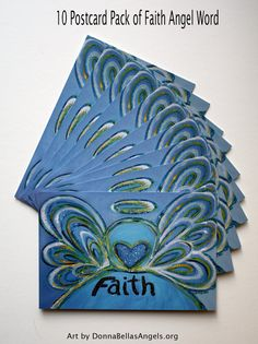 "Blue #Faith #Angel #Inspirational #Word Postcards (10 Pack)  Package of ten 4"" x 6"" postcards featuring the painting ""Faith Angel Word"".  The inspirational word ""Faith"", is painted in shades of soft blues with yellow and green accents. The acrylic painting has a textural contrast and sparkle from a light layer of glitter.    The full color image is on the front and the back is in black and white."