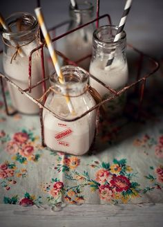 Beautiful styling: Banana, strawberry, ginger and honey breakfast smoothie from upcoming book What Katie Ate, copyright Katie Quinn Davies Old Milk Bottles, Vintage Milk Bottles, Milk Cans, Bottles And Jars, Glass Bottles, Vintage Jars, Vintage Food, Small Bottles, Mini Bottles