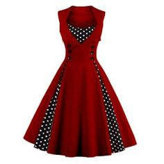 SHARE & Get it FREE | Retro Button Embellished Polka Dot DressFor Fashion Lovers only:80,000+ Items • FREE SHIPPING Join Twinkledeals: Get YOUR $50 NOW!