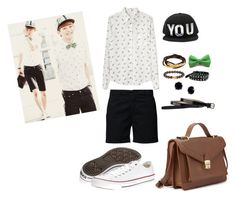 """""""EXO Chen's Airport Inspired Outfit"""" by smokingcrayonz ❤ liked on Polyvore featuring Band of Outsiders, Filippa K, Cole Haan, Converse, Angie, SKU Jewelry, Boohoo and Forever 21"""