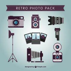 Retro photo pack vector