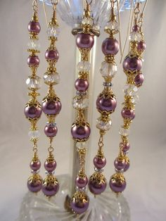 Purple Pearl Christmas Ornament Dangles Bead by LaReineDesCharmes, $36.00
