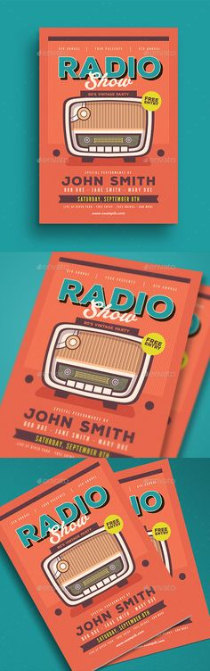 Retro Radio Event Flyer Template PSD, AI Illustrator - Download: https://graphicriver.net/item/retro-radio-event-flyer/21683611?ref=ksioks