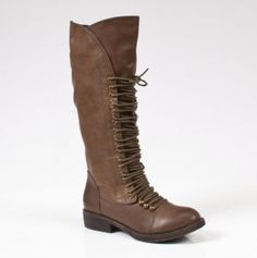 super cute lace up Riding Boot! $42...reminds me of Katniss :)