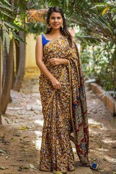 Block printed Kalamkari soft cotton silk saree with gold sequin border #saree #blouse #houseofblouse #indian #bollywood #style #ethnic #blockprint #kalamkari #marron #mustard #blue #print