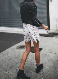 Floral short dress, black leather jacket, boots // casual street style outfit